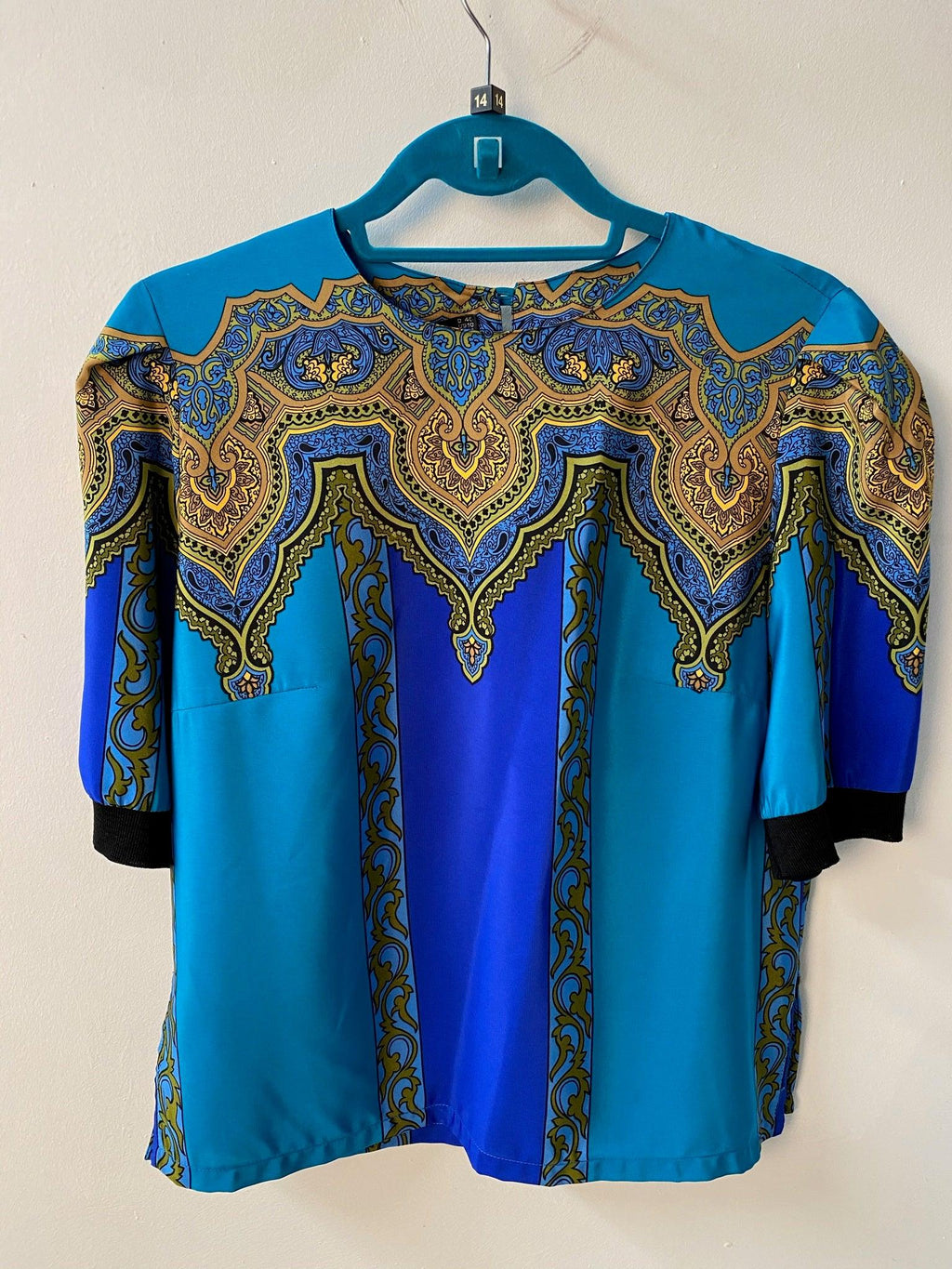 Hardob Short Sleeved Top Silk Turquoise Ethnic Print UK 14