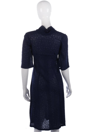 Amazing embroidered sheer 1940's vintage navy dress size XS