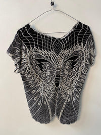 Sugarhill Boutique Top Butterfly Design Black Rayon Size S