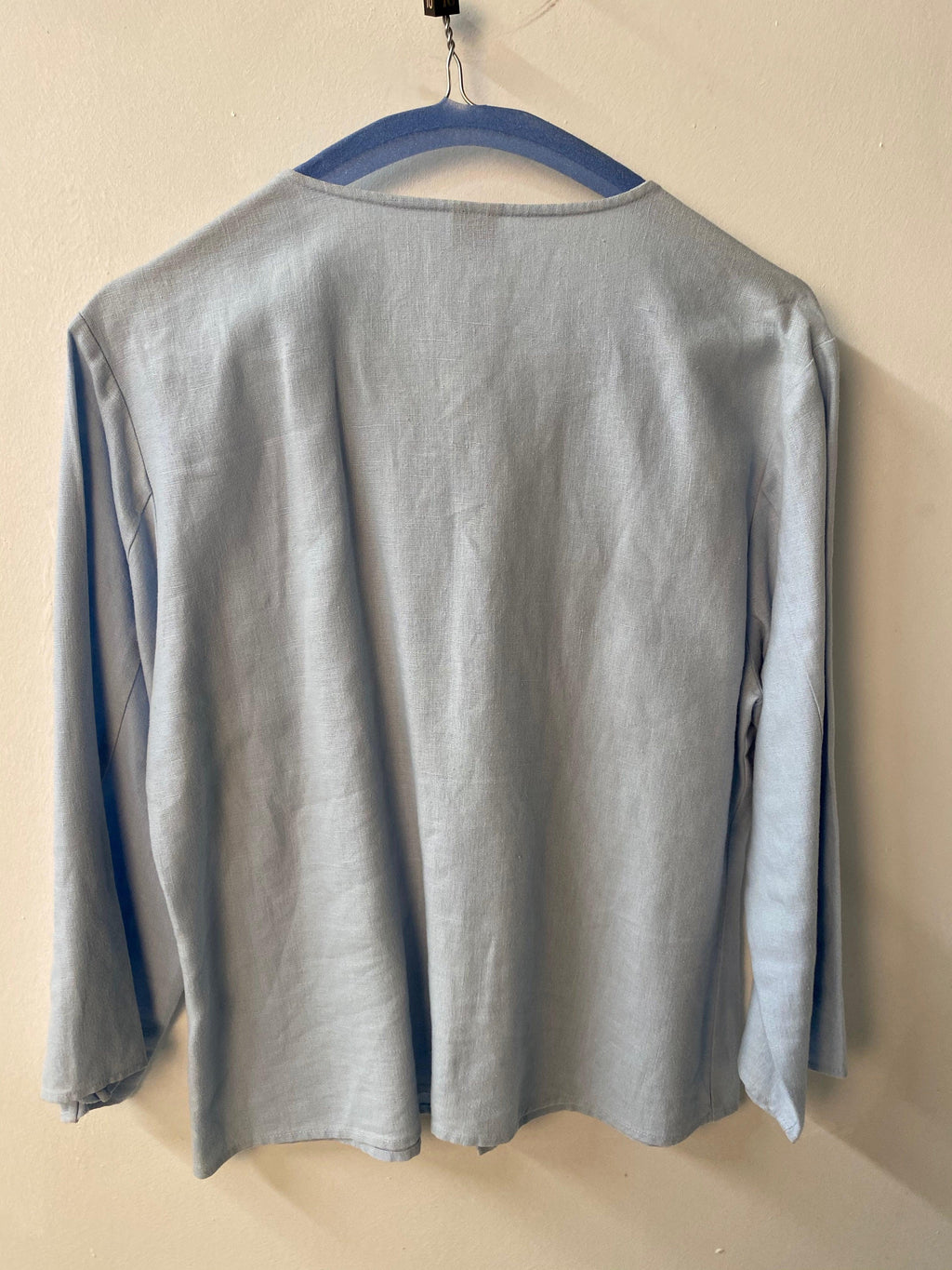 Olsen 3/4 Sleeved Shirt Pale Blue Linen UK Size 10