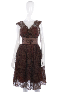 Beautiful 1950's brown lace dress size S