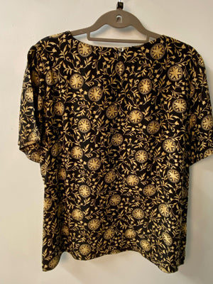 Aquascutum Vintage Short Sleeved Silk Blouse Black/Gold UK Size 12