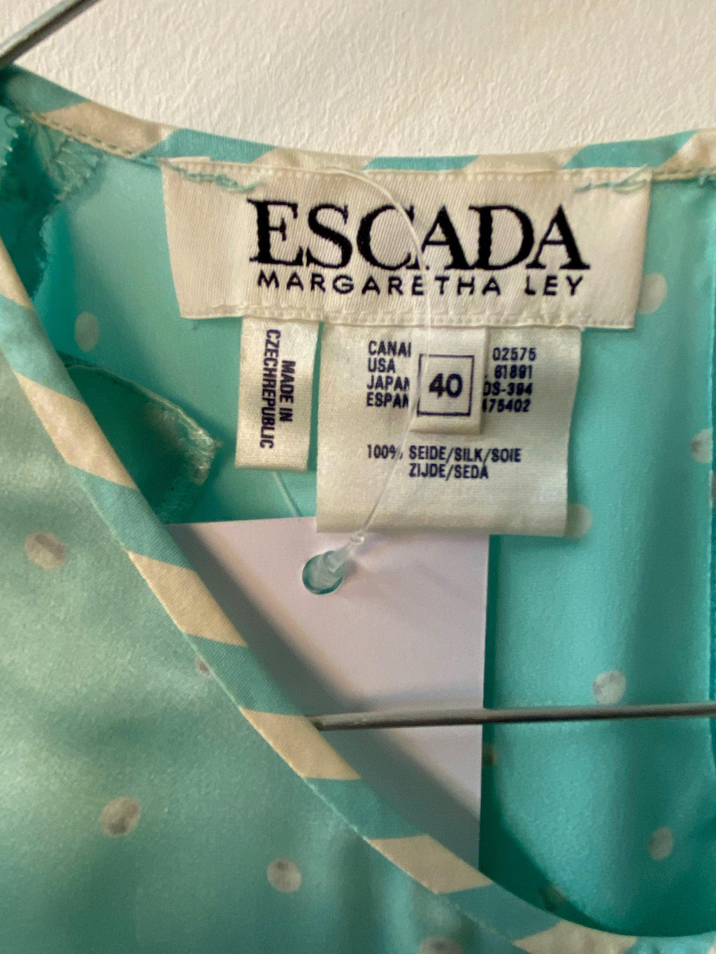 Escada Margaretha Ley Short Sleeve Top Silk Green UK size12