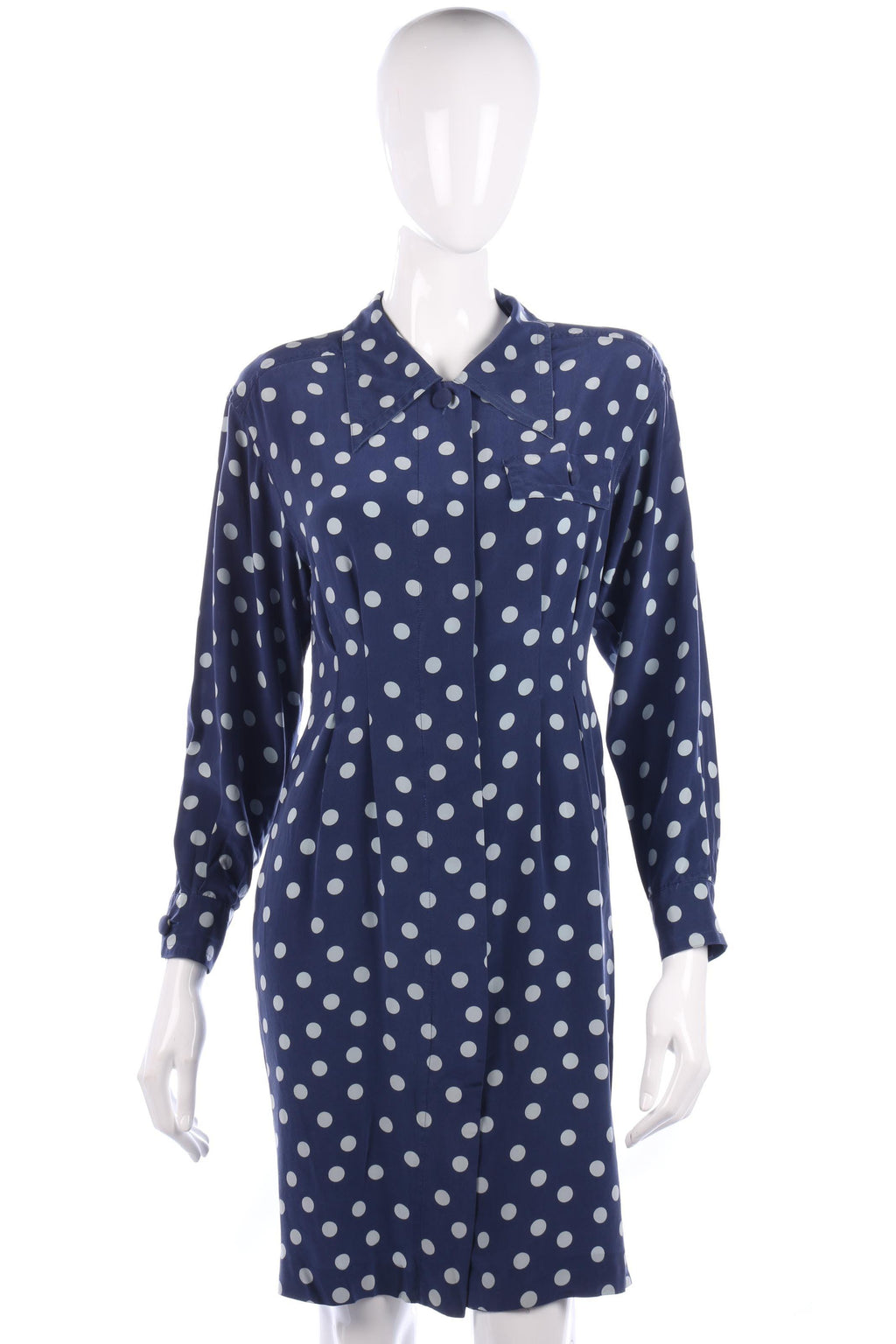 Adrianna Papéll Silk Polkadot Dress Blue Size M