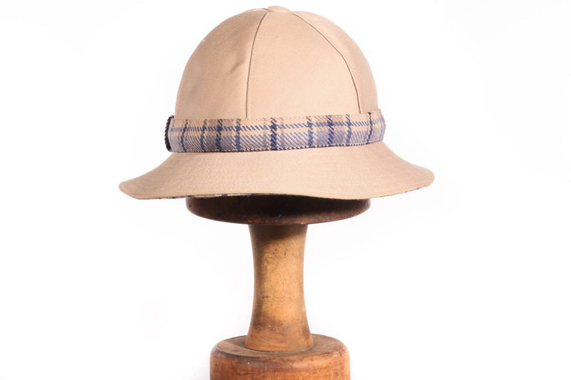 DAKS beige hat with checked band detail