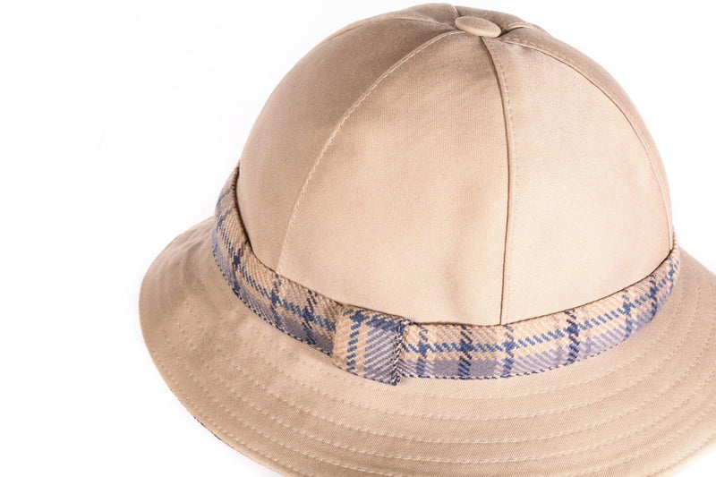 DAKS beige hat with checked band detail detail