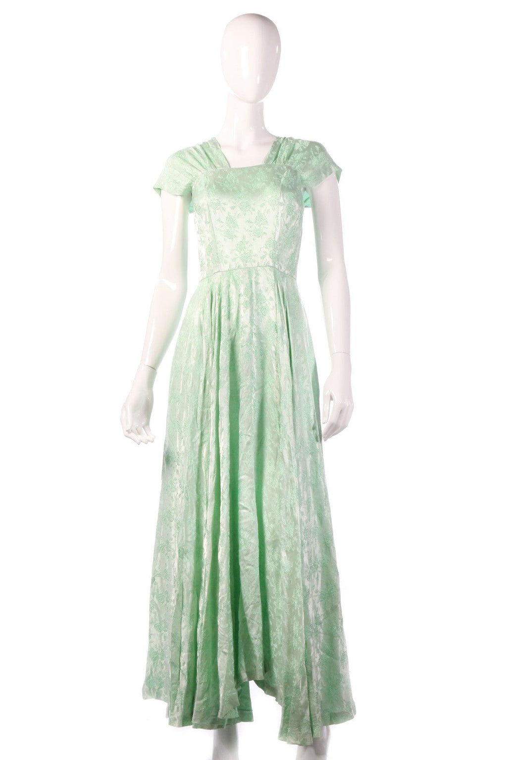 Light green floral evening dress