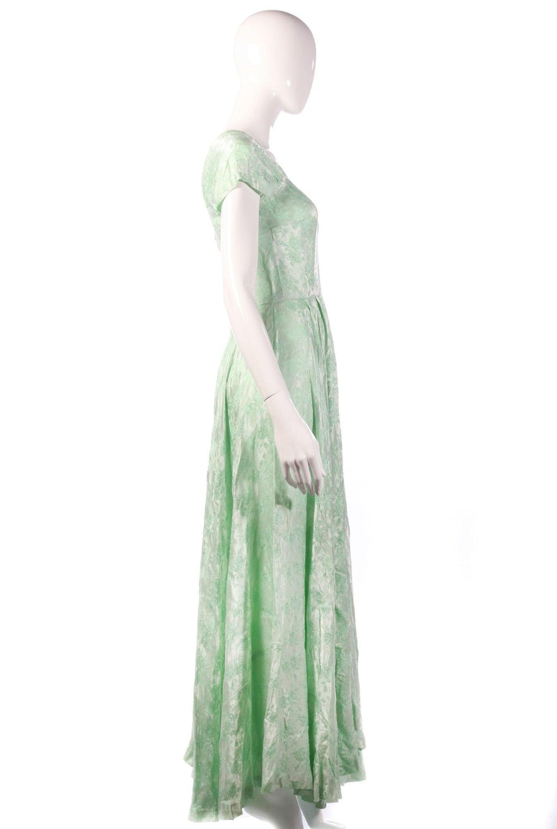 Light green floral evening dress side