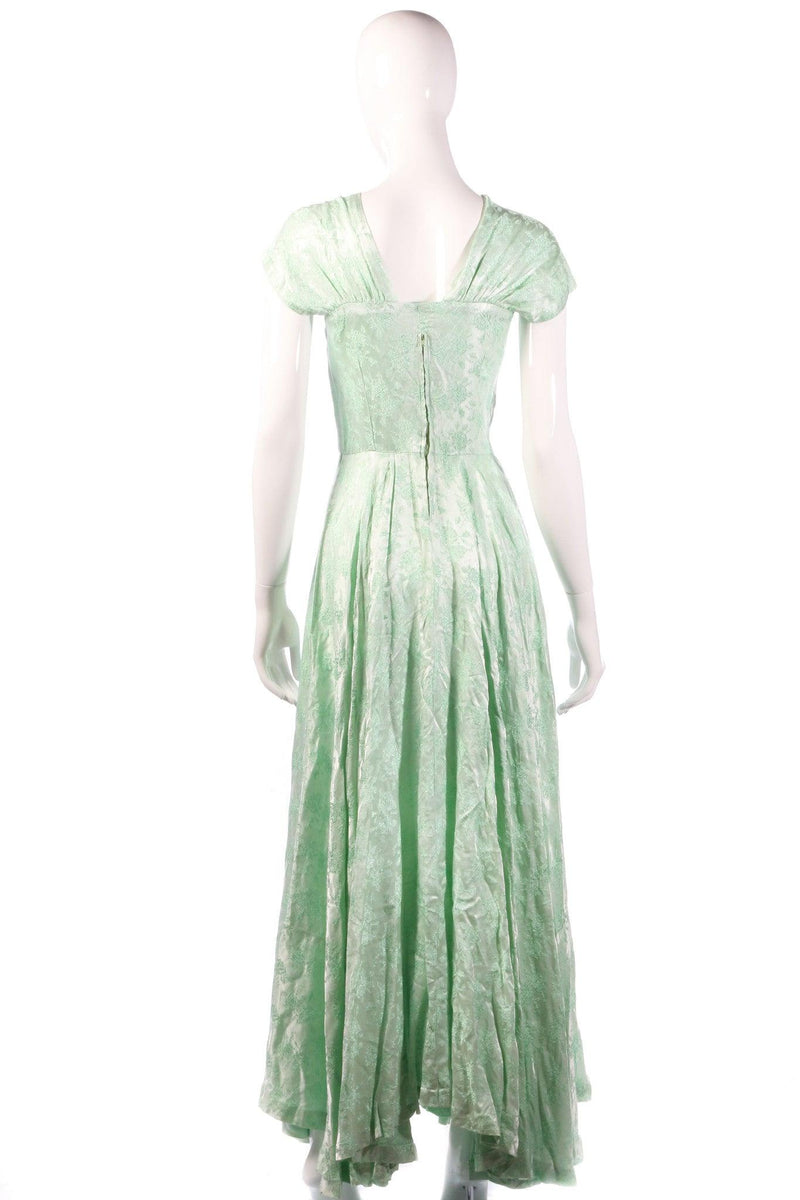 Light green floral evening dress back
