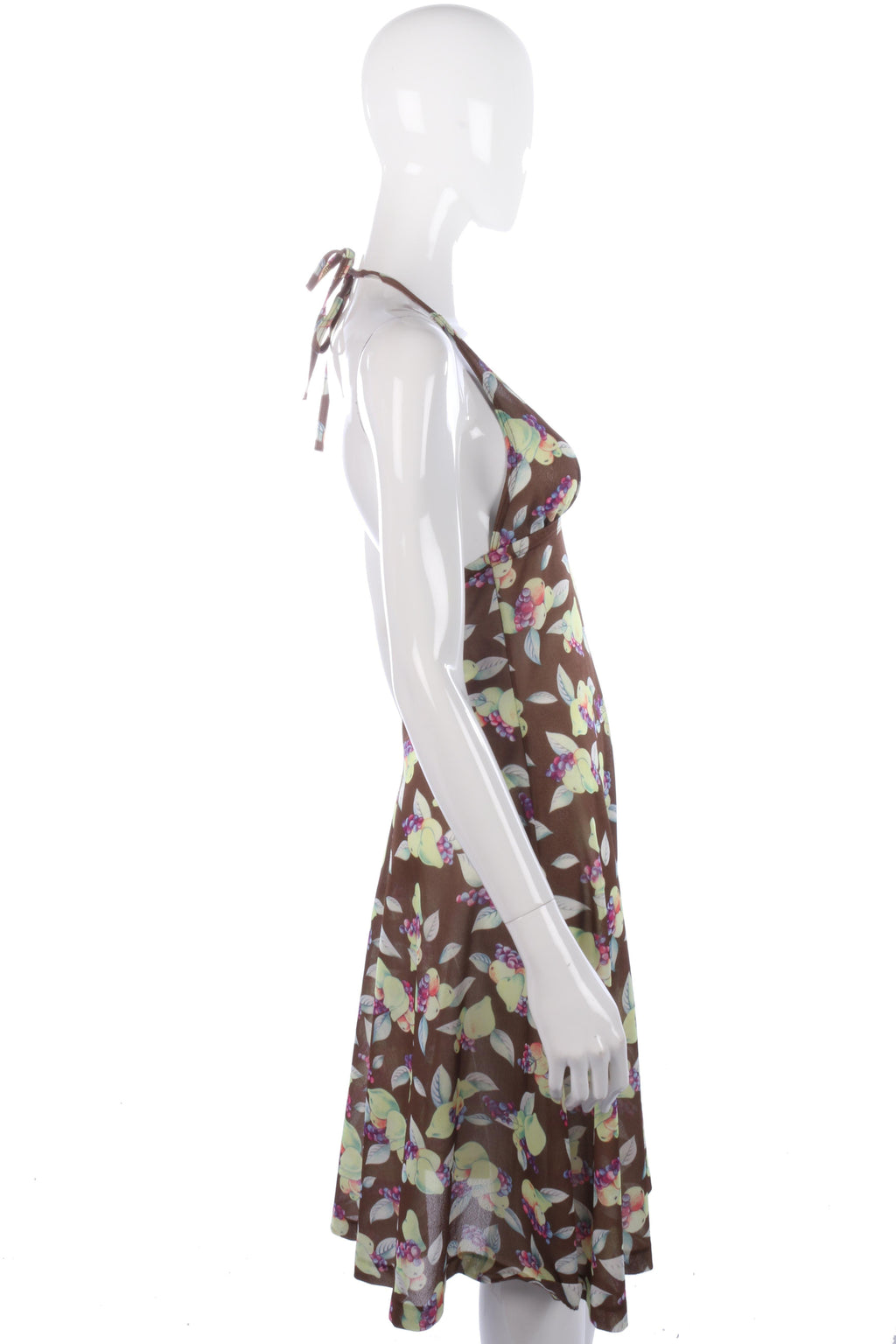 1970s vintage floral halter neck dress size S