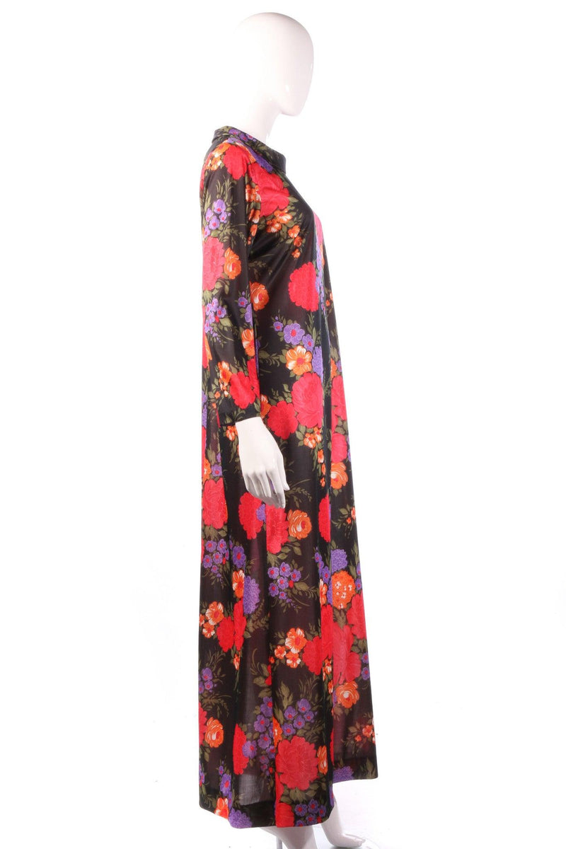 Jeannie black floral maxi dress side