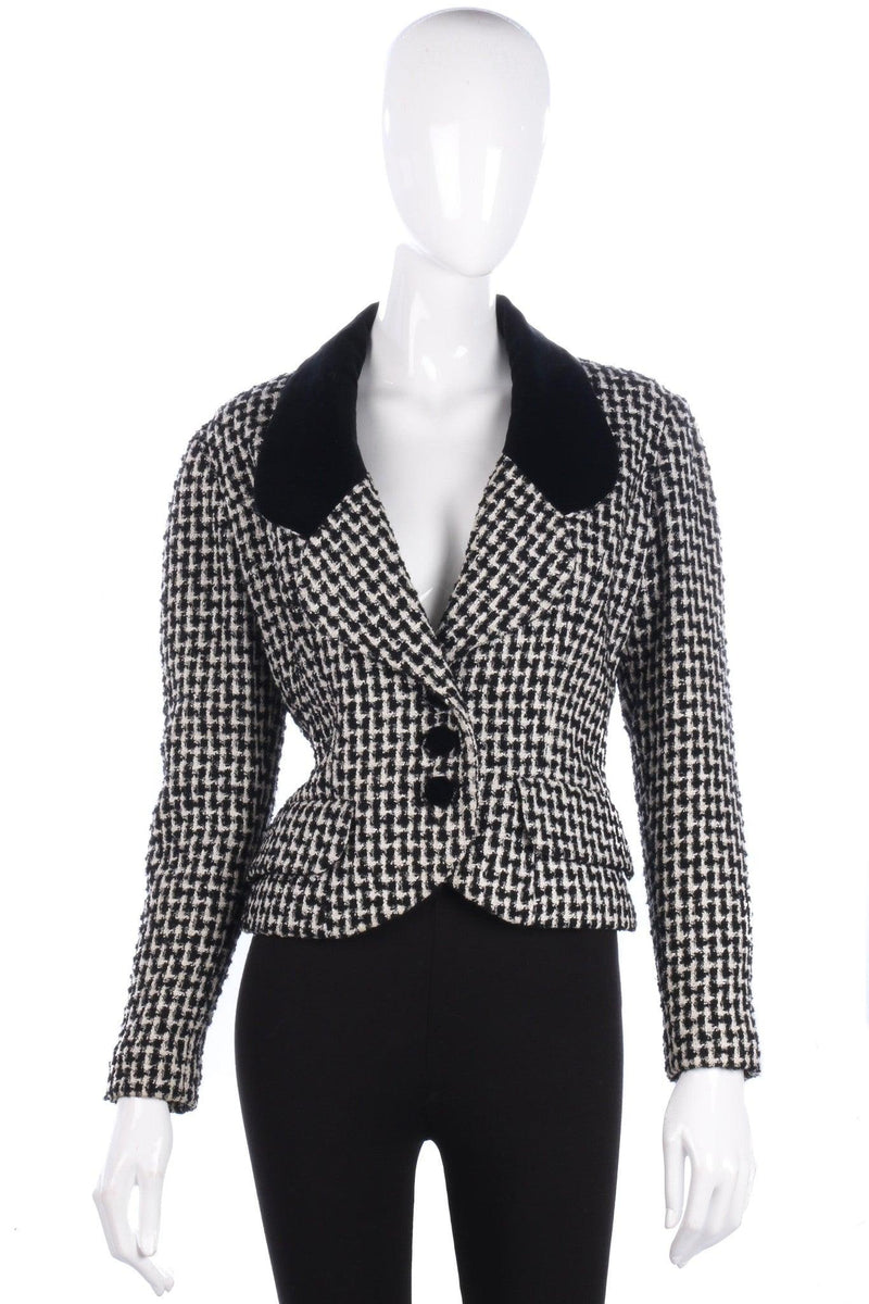 Roland Klein Jacket with Velvet Collar Black and White Houndstooth UK 10