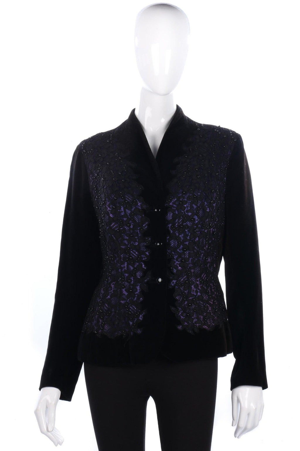Superb Vintage Jacket Black Velvet and Lace Panels  Size 14/16