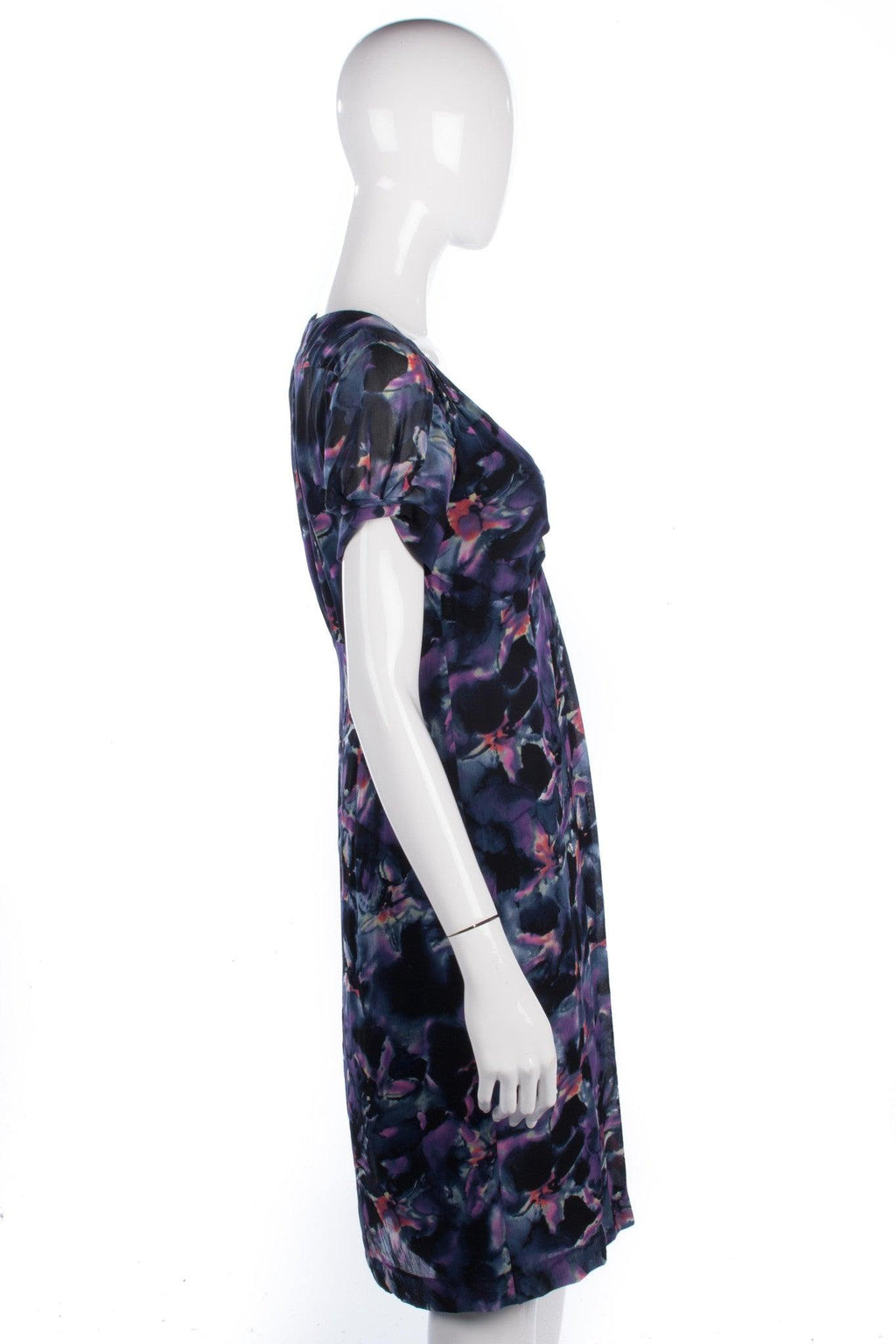 Jigsaw Dress 100% Silk Blue and Purple Floral Design. Stunning Size 8