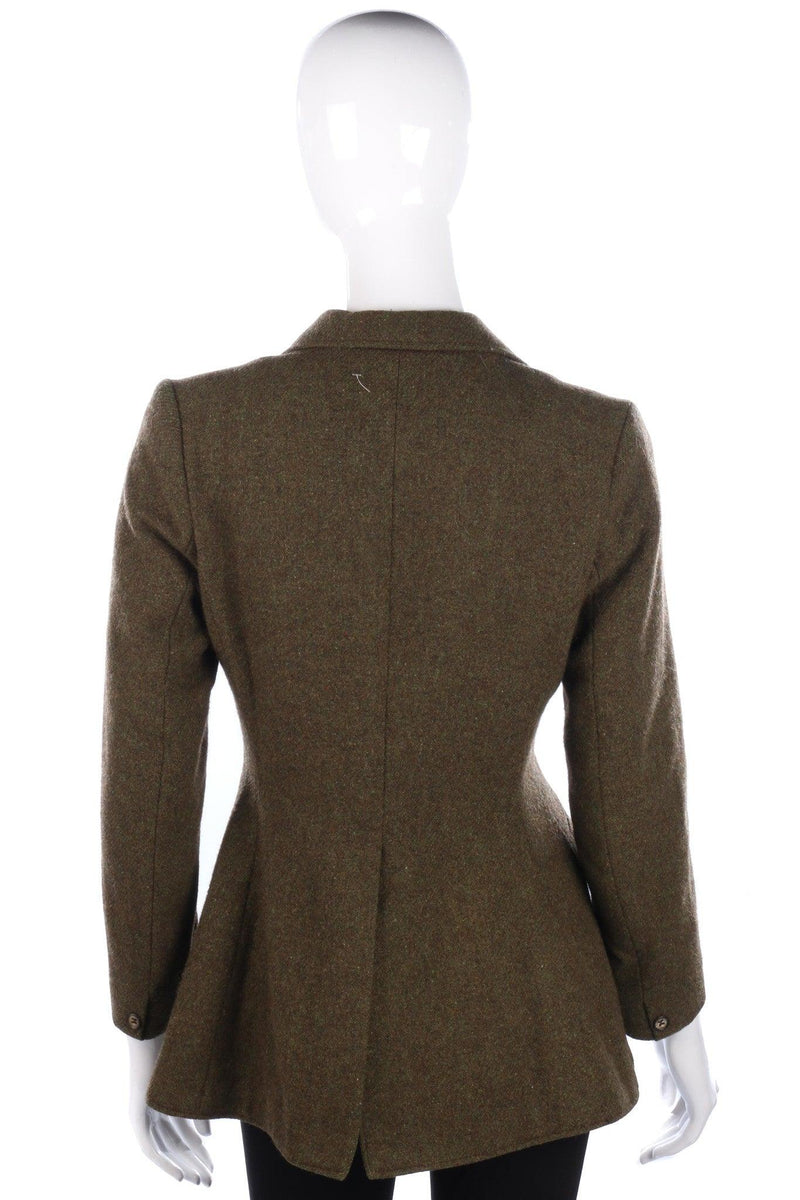 Caldene Vintage Riding Jacket Green Wool Mix UK Size 10
