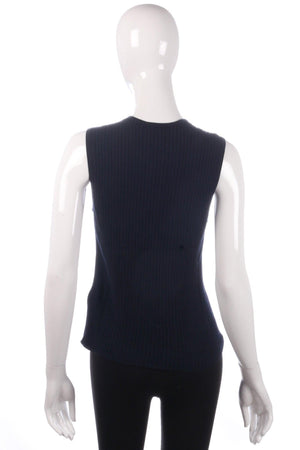 Jaeger navy blue sleevless top size L back