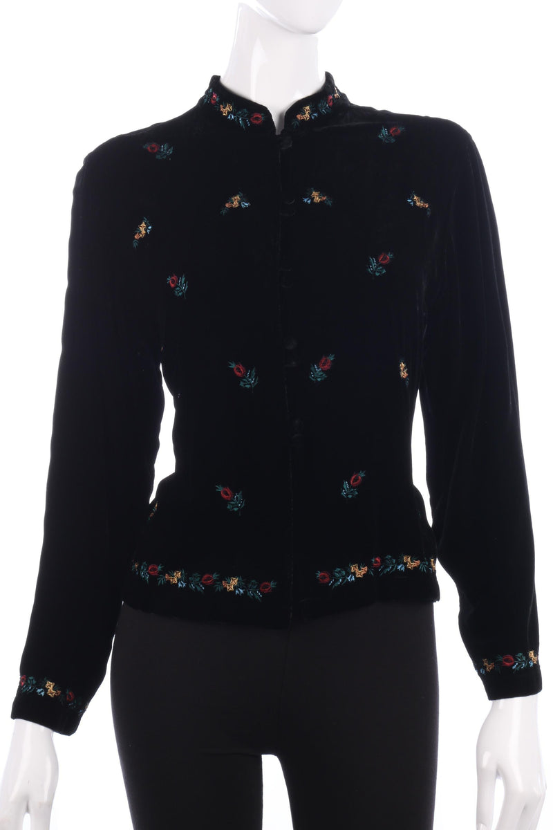 East Velvet Jacket Embroidered with Flowers Black Size 14