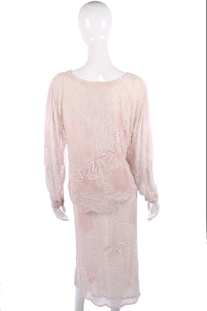 Silk chiffon pink beaded skirt and top size M/L