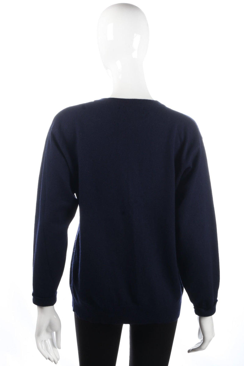 Antartex Jumper Silk and Cashmere Dark Blue Size 10