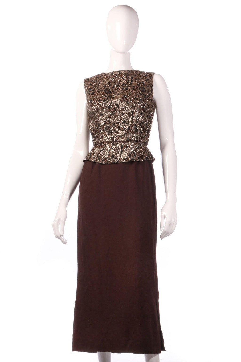 Brown dress with gold patterned peplum