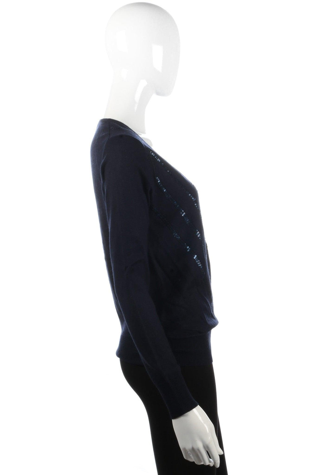 Cotswold Collections silk and cashmere dark blue jumper with sequins size 8