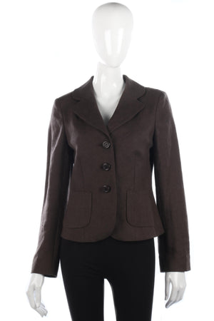 Lovely soft brown linen hobbs jacket size 12