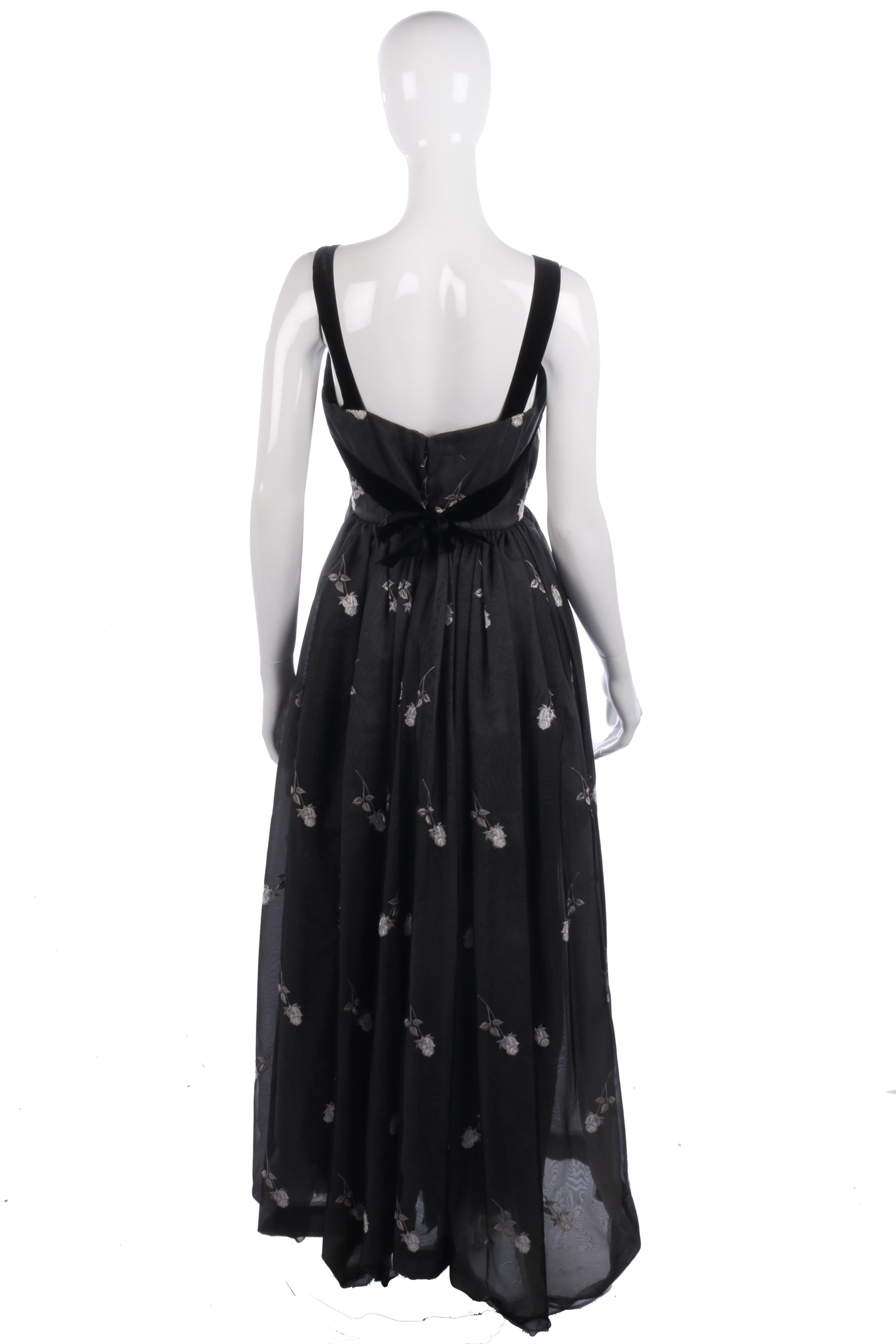 Fabulous vintage black ball gown with white floral embroidery – Ava ...