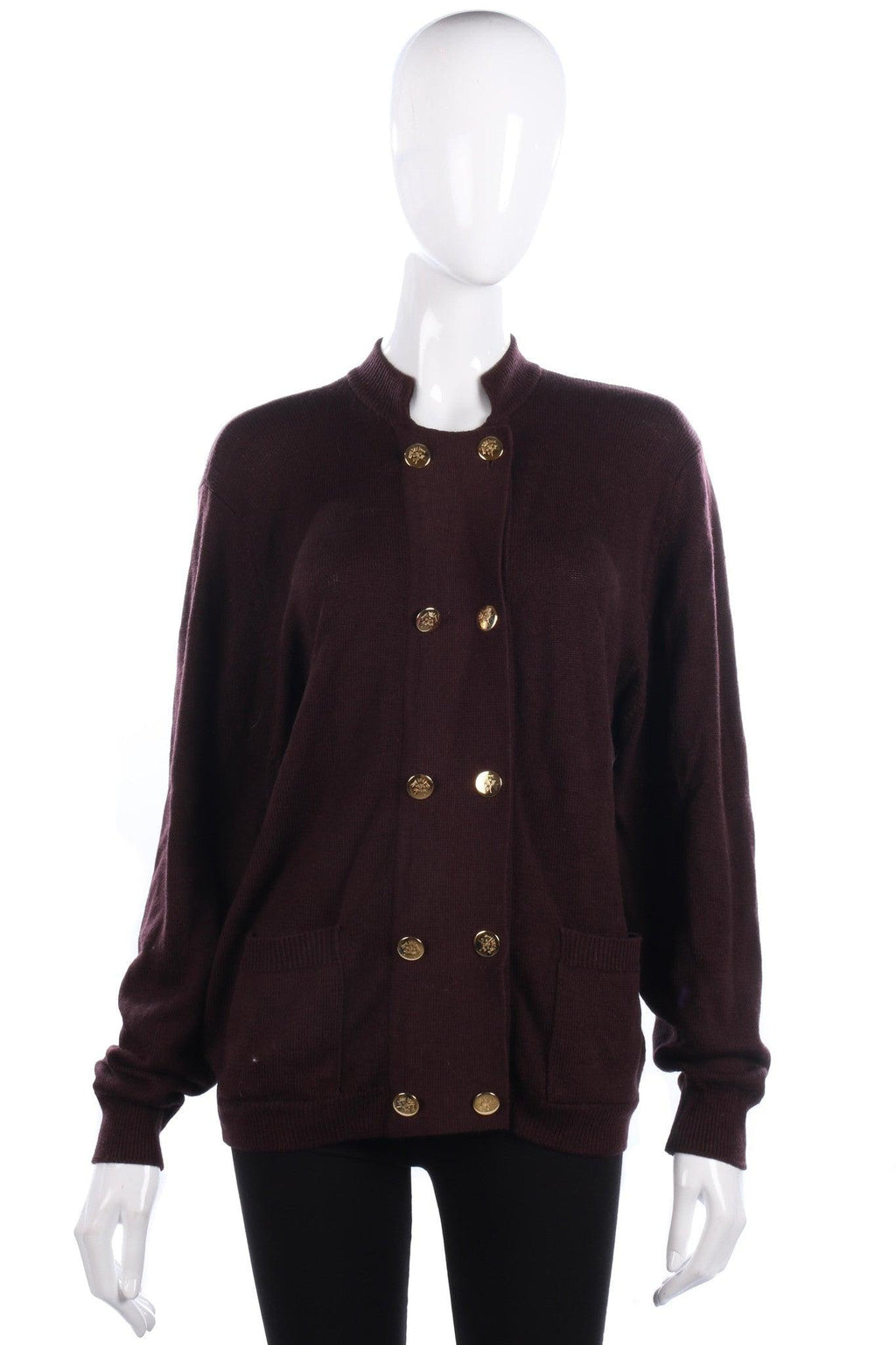 Straven of Scotland Pure Wool Cardigan Brown with Gold Buttons. UK10