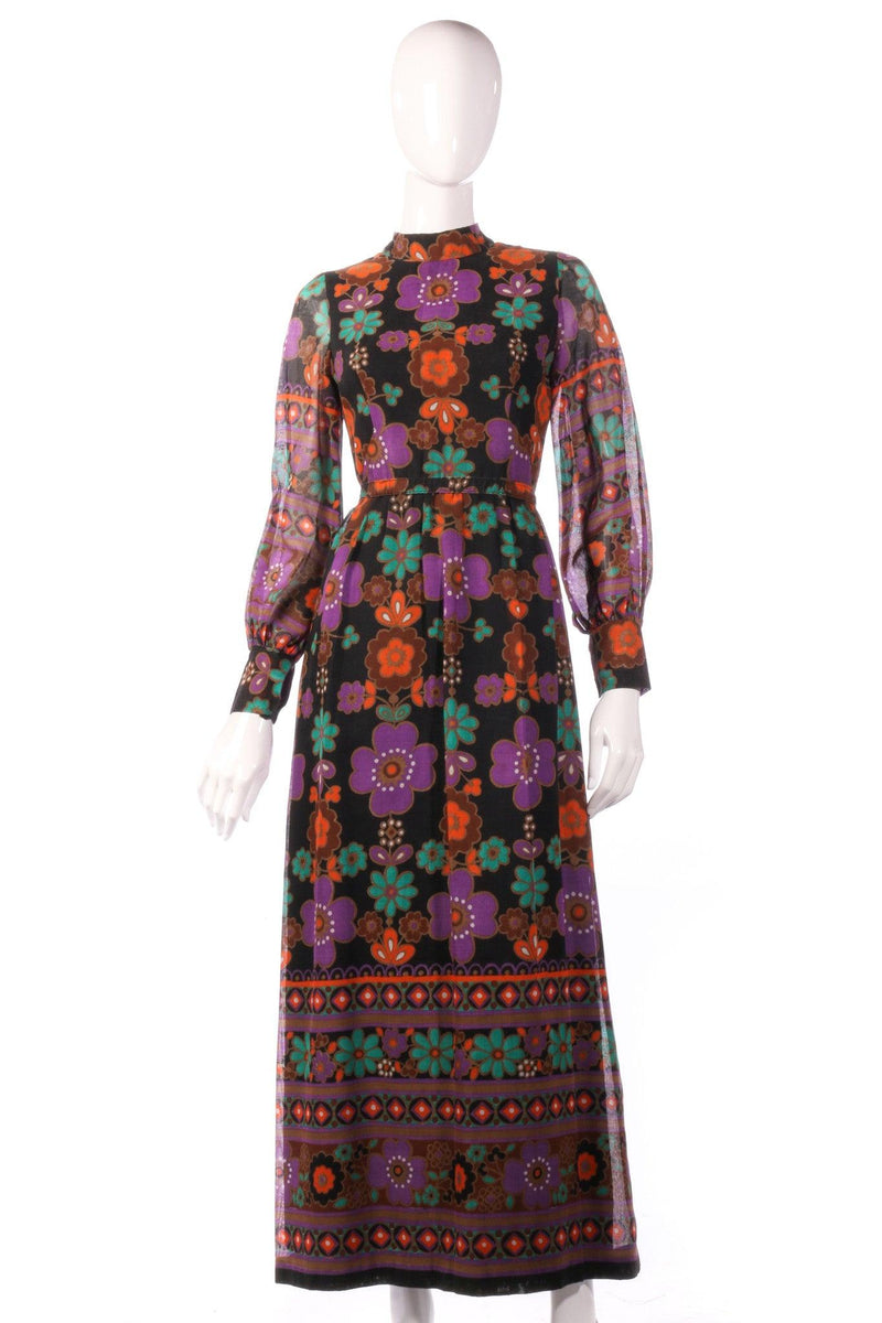 Full length purple and orange floral dress
