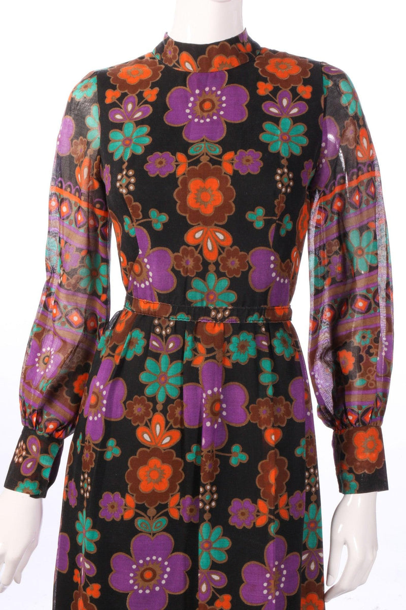 Full length purple and orange floral dress  detail