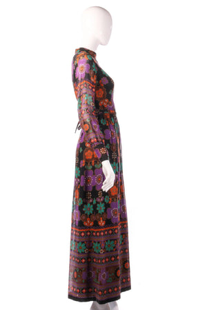Full length purple and orange floral dress side