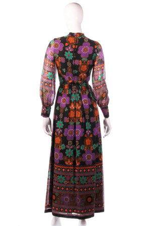 Full length purple and orange floral dress  back