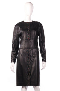 Jaeger leather dress with button detail