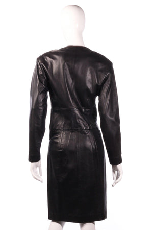 Jaeger leather dress with button detail  back