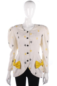 Azalea London Vintage Embroidered Jacket Cotton Cream w Bow Detail Size 12