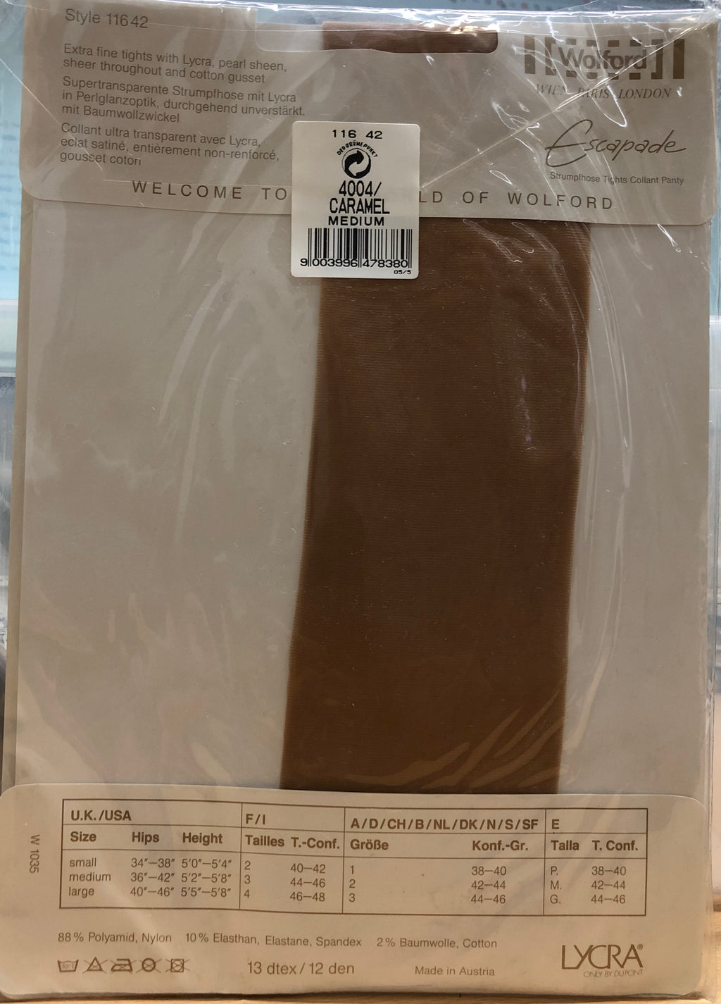 Wolford Tights Style 11642 12 Den Caramel 4004 Medium