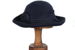 Bermona Trend navy hat with rose detail
