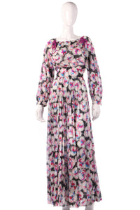 Tricosa black and pink floral maxi dress