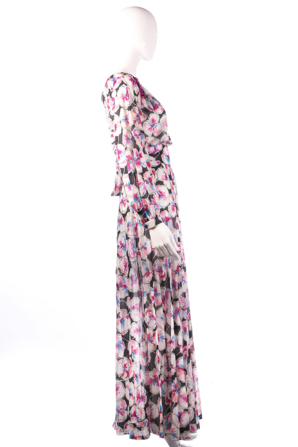 Tricosa black and pink floral maxi dress side