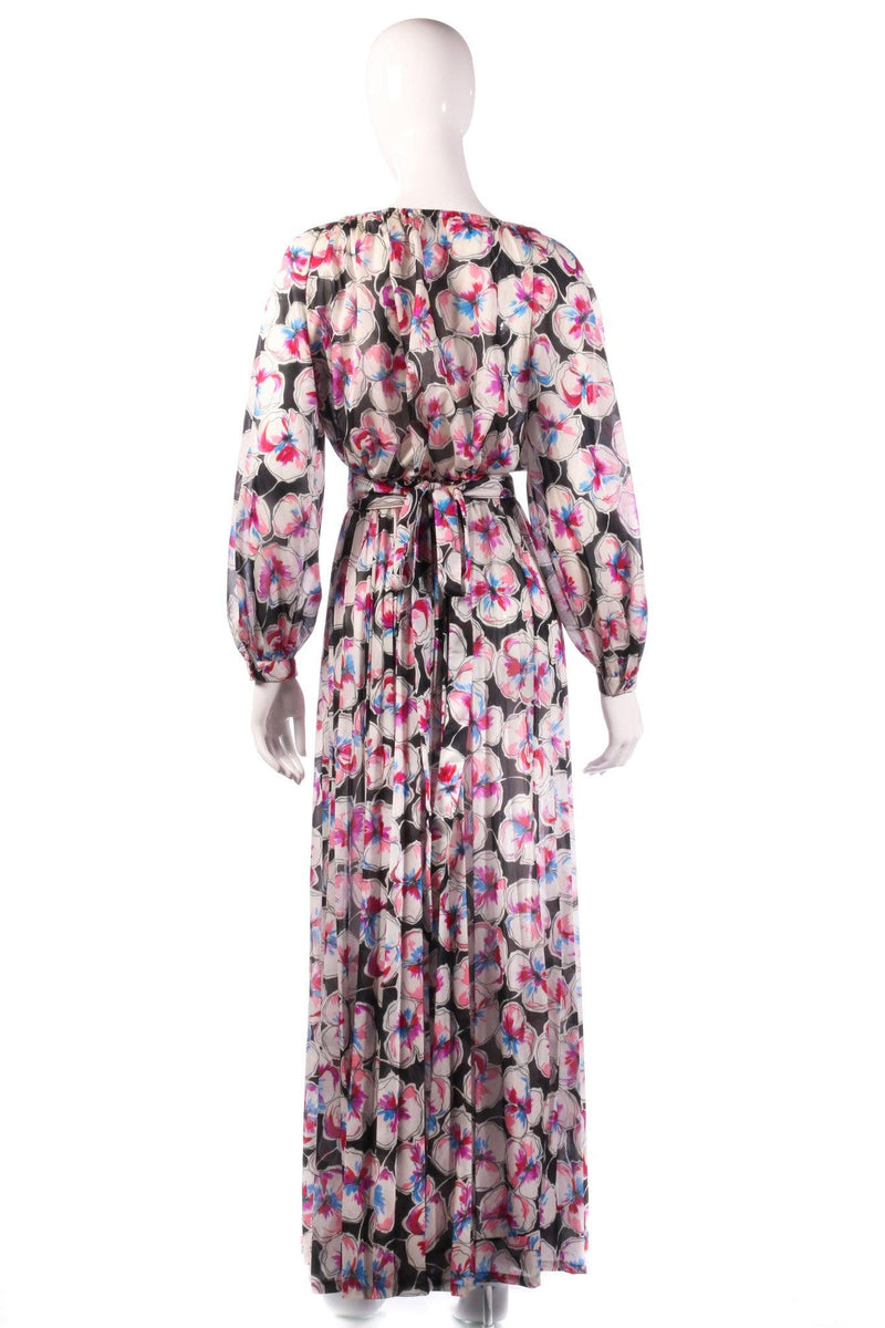 Tricosa black and pink floral maxi dress back