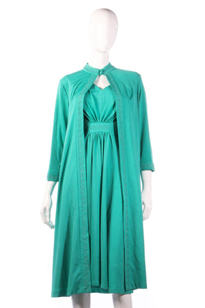 Green evening dress with matching over jacket