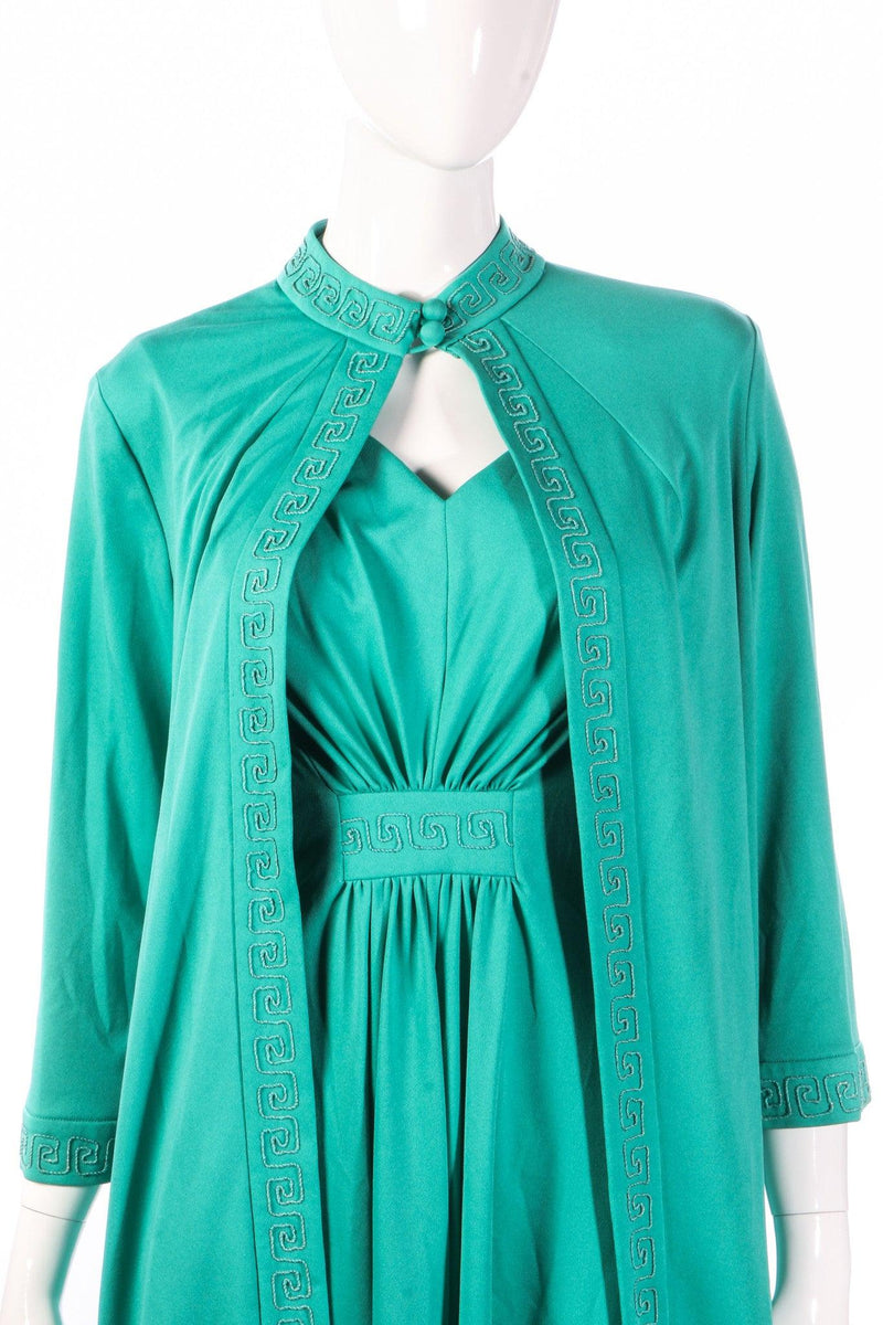 Green evening dress with matching over jacket detail