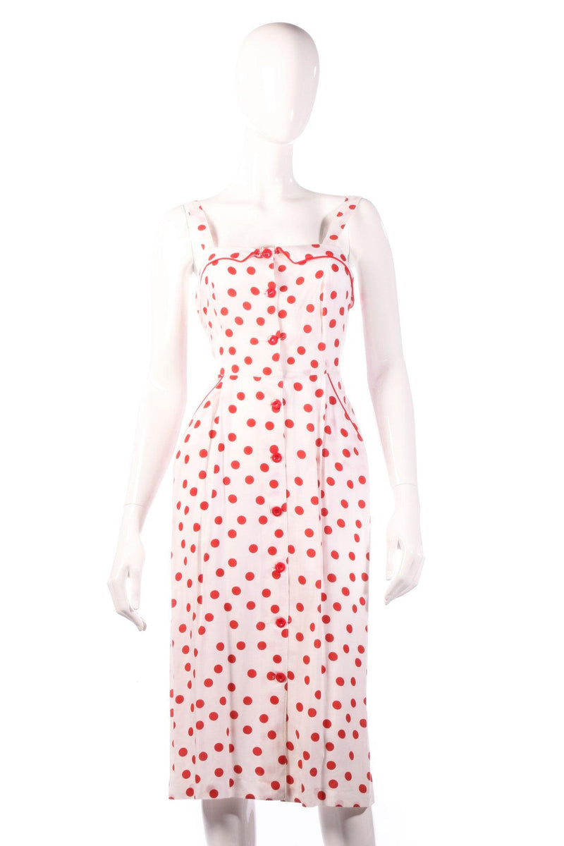 Red polkadot pencil dress