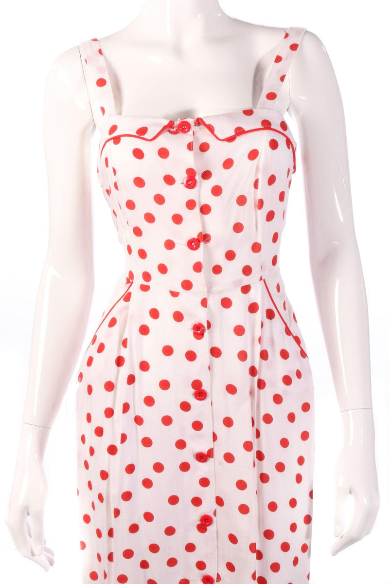 Red polkadot pencil dress detail
