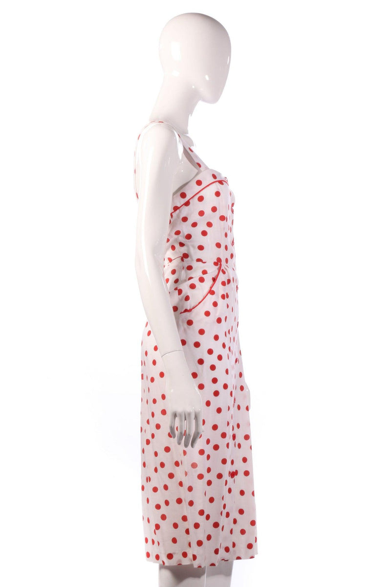 Red polkadot pencil dress side