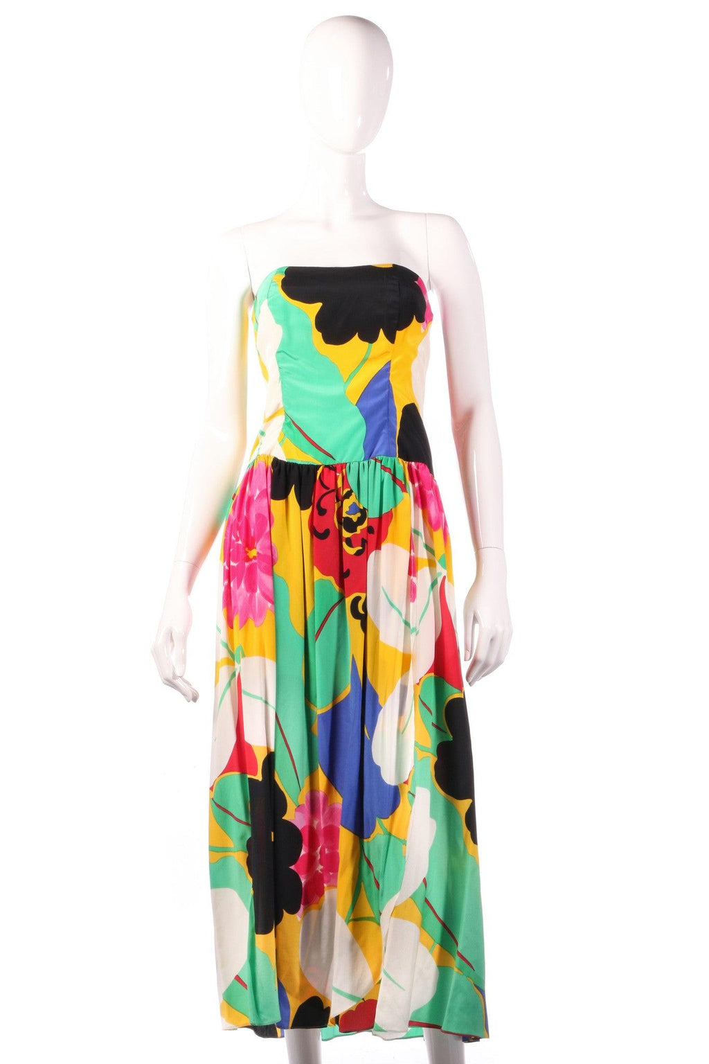 Gail Hoppen multi coloured strapless dress