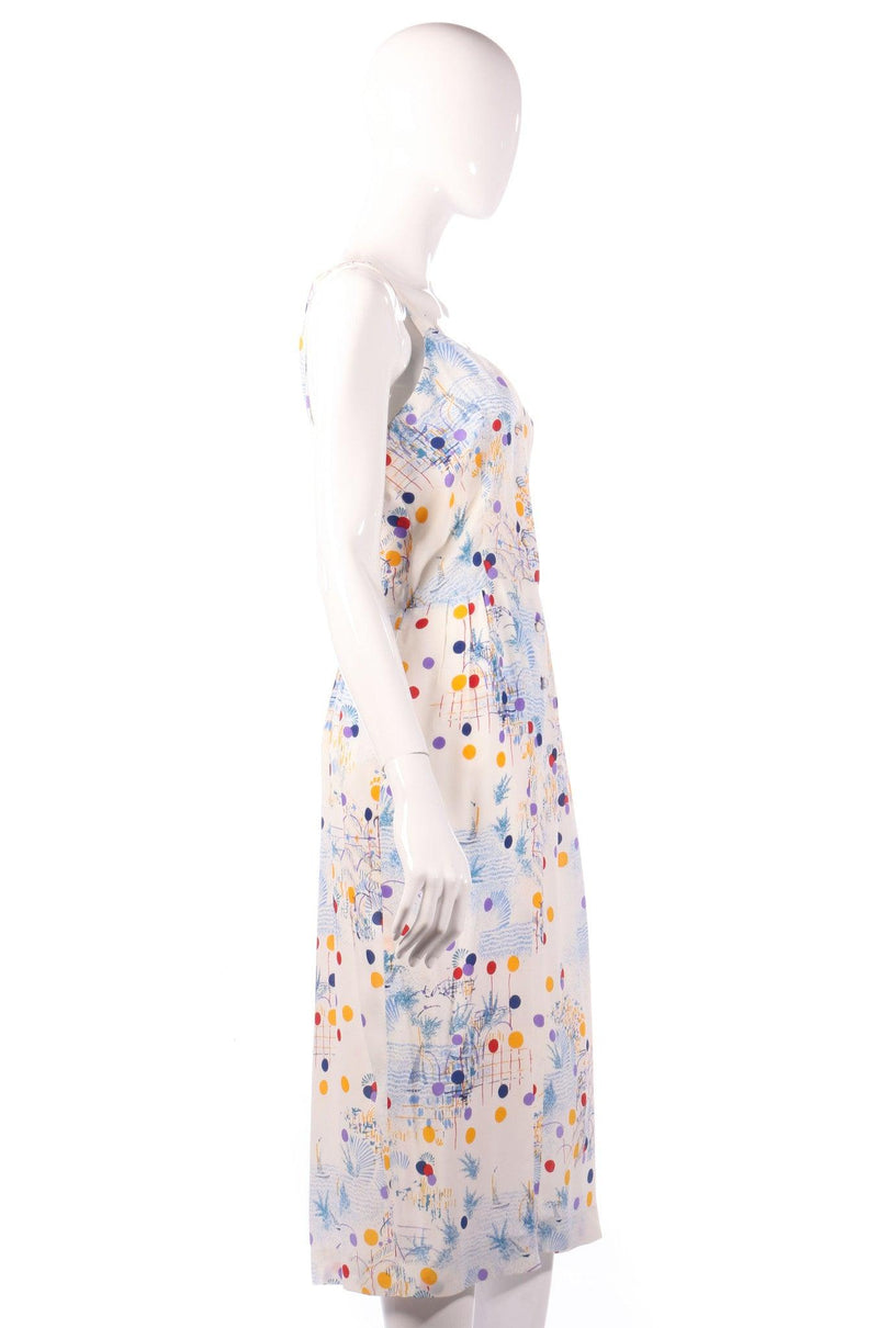 Veronica multi coloured polkadot dress side