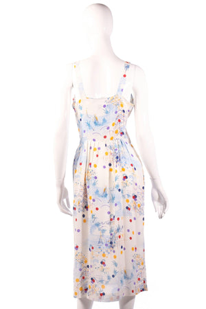 Veronica multi coloured polkadot dress back