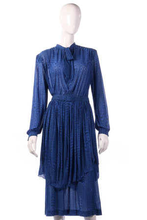 Tricosa blue dress with pleated layer