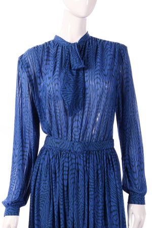 Tricosa blue dress with pleated layer detail